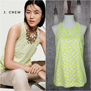 J. Crew Floral Embroidered Racer Top - Neon Citron